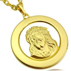 Pingente Medalha Rosto de Cristo (4cmX4cm) (Banho Ouro 24k)