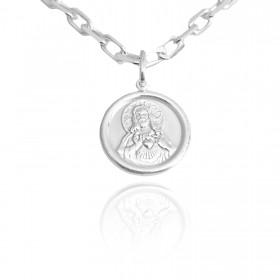 Pingente Medalha Sagrado Coração 1,5cm x 1,5cm (Prata 925 Italiana)
