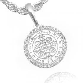 Pingente Medalha São Bento Cravejada em Zircônia (2,5cmX2,1cm) (Banho Prata 925)