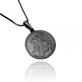 Pingente Medalha São Jorge Borda Texturizada (2,2cmX2,4cm) (Banho de Ônix)