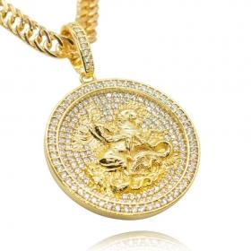 Pingente Medalha São Jorge Cravejada (3,5cmX4,1cm) (17g) (Banho Ouro 24k)