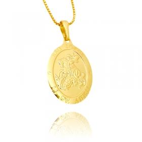 Pingente Medalhão de São Jorge (2,8cmX2cm) (Banho Ouro 24k)