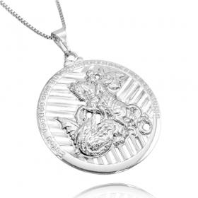 Pingente Medalhão de São Jorge Vazado (4,1cmX3,7cm) (Banho Prata 925)