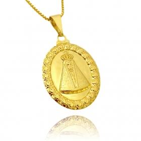 Pingente Medalhão Nossa Senhora Aparecida (3cmX2,1cm) (Banho Ouro 24k)