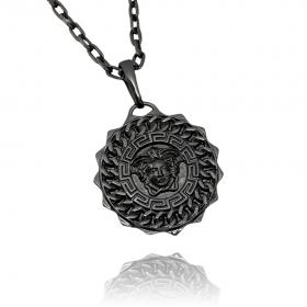 Pingente Medusa Sun (3,1cmX2,9cm) (Banho de Ônix)