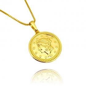 Pingente Moeda Romana (2,1g) (2,0X2,0cm) (Banho Ouro 24k)