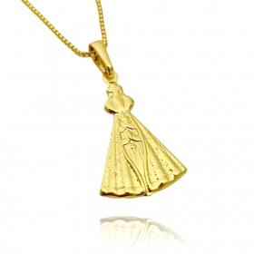 Pingente Nossa Senhora Aparecida Chapeada (2,7x1,8cm) (Banho Ouro 24k)