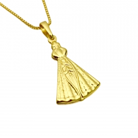 Pingente Nossa Senhora Aparecida Dupla (2,7x1,8cm) (2,3g) (Banho Ouro 24k)