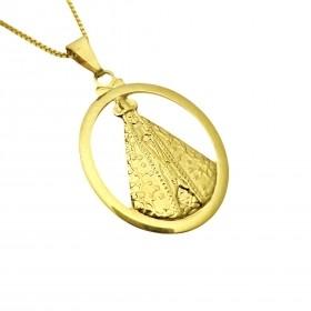 Pingente Nossa Senhora Aparecida Oval Vazado (3,6cmX2,5cm) (Banho Ouro 24k)