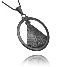 Pingente Nossa Senhora Aparecida Oval Vazado (3,6cmX2,5cm) (Banho de Ônix)