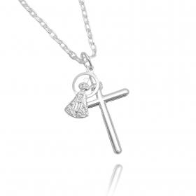 Pingente Nossa Senhora com Crucifixo (Banho Prata 925)