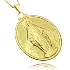 Pingente Nossa Senhora das Graça Oval (3,5cmX2,5cm) (Banho Ouro 24k)