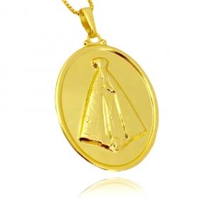 Pingente Nossa Senhora Oval Sobre (3,7cmX2,7cm) (Banho Ouro 24k)