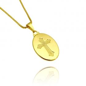 Pingente Oval com Cruz (2,4cmX1,6cm) (Banho Ouro 24k)