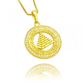 Pingente Pirâmide Cravejada em Zircônia (2,7cmX2,5cm) (Banho Ouro 24k)