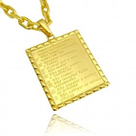 Pingente Placa 10 Mandamentos (3cmX2,4cm) (Banho Ouro 24k)