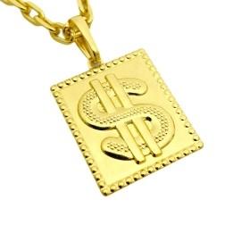 Pingente Placa Cifrão 2,6cm X 2,2cm (Banho Ouro 24K)
