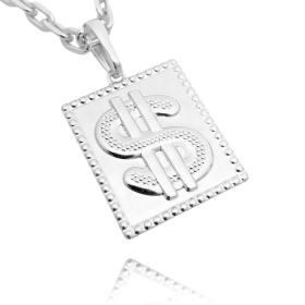 Pingente Placa Cifrão (3cmX2,4cm) (Prata 925 Italiana)