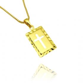 Pingente Placa com Cruz Vazada (1,8cm X 1,2cm) (Banho Ouro 24k)