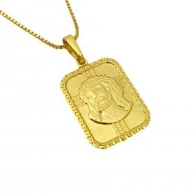 Pingente Placa com Rosto De Cristo (2,6cmX1,9cm) (Banho Ouro 24k)