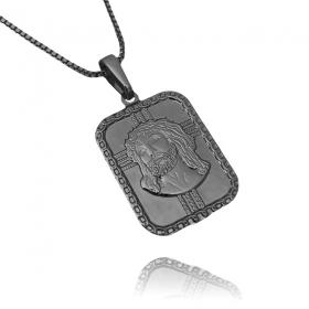 Pingente Placa com Rosto De Cristo (2,6cmX1,9cm) (Banho de Ônix)