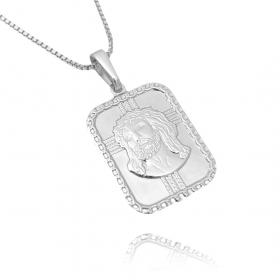 Pingente Placa com Rosto De Cristo (2,6cmX1,9cm) (Banho Prata 925)