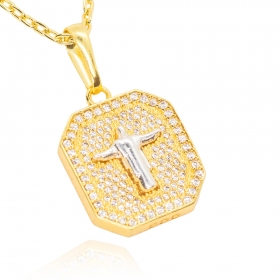 Pingente Placa Cristo Redentor 3D Cravejado em Zircônia (2,5cmX2cm) (Banho Ouro 24k)