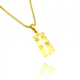 Pingente Placa de Cruz Vazada (1,6cmx1,0cm) (Banho Ouro 24k)