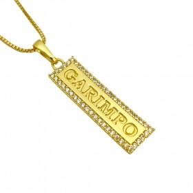Pingente Placa Garimpo Cravejado em Zircônia 1cm X 3xm (Banho Ouro 24k)