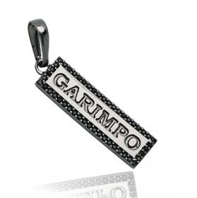 Pingente Placa Garimpo Cravejado (Zircônia Preta) (3,5cmX1,1cm) (Banho de Ônix)
