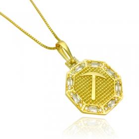 Pingente Placa GDO Cravejado em Zircônia (2,8cmX2,4cm) (Banho Ouro 24k)