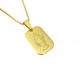 Pingente Placa Nossa Senhora (2,1cmX1,5cm) (Banho Ouro 24k)