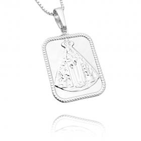 Pingente Placa Nossa Senhora Aparecida 1 (2,6cmX1,9cm) (Banho Prata 925)
