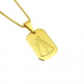 Pingente Placa Nossa Senhora Aparecida (2,0 x 1,3cm) (2,6g) (Banho Ouro 24k)
