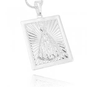 Pingente Placa Nossa Senhora Aparecida 2 (3cmX2,4cm) (Banho Prata 925)