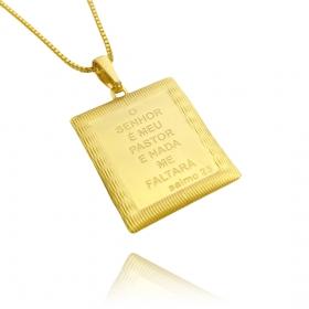 """Pingente Placa """"O Senhor é Meu Pastor"""" (3cmX2,4cm) (Banho Ouro 24k)"""