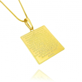 Pingente Placa Oração Pai Nosso c/ Cristo (3cmX2,3cm) (Banho Ouro 24k)