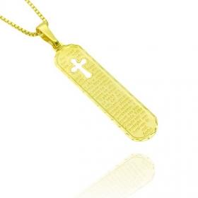Pingente Placa Pai Nosso c/ Cruz Vazada (3,8cmx1,1cm) (Banho Ouro 24k)
