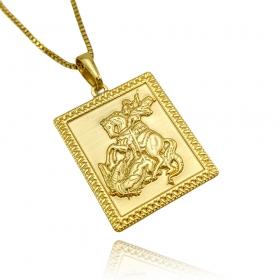 Pingente Placa São Jorge G (3cmX2,4cm) (Banho Ouro 24k)