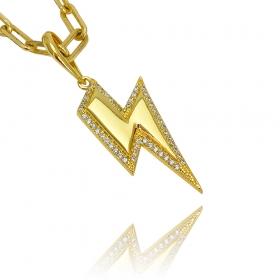 Pingente Raio ICED Cravejado em Zircônia (3,5cmX2,5cm) (Banho Ouro 24k)