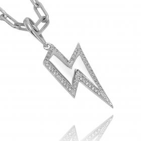 Pingente Raio ICED Cravejado em Zircônia (3,5cmX2,5cm) (Banho Prata 925)