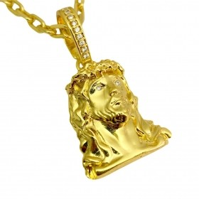 Pingente Rosto De Cristo 4D 8g 3cm X 2,2cm (Banho Ouro 24k)