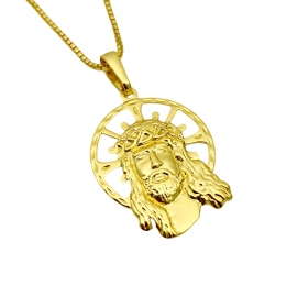 Pingente Rosto de Cristo Coroa (2,6x2,0cm) (Banho Ouro 24k)