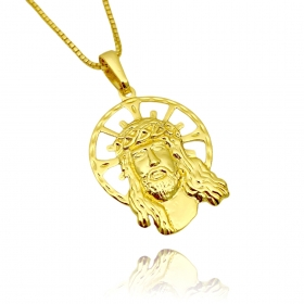 Pingente Rosto de Cristo Coroa (2,6cmX2cm) (Banho Ouro 24k)