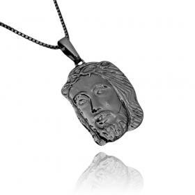 Pingente Rosto de Cristo M (3,5cmX2cm) (Banho Ode Ônix)