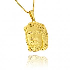 Pingente Rosto de Cristo M (3,5cmX2cm) (Banho Ouro 24k)