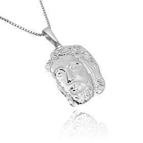 Pingente Rosto de Cristo M (3,5cmX2cm) (Banho Prata 925)