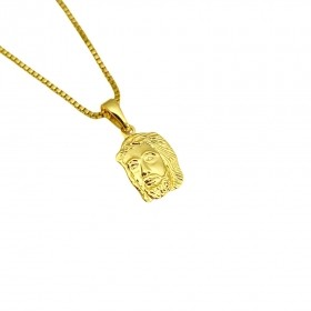Pingente Rosto de Cristo Mini (1,6cmX1,1cm) (Banho Ouro 24k)
