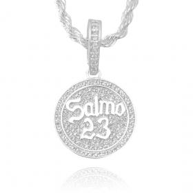 Pingente Salmo 23 Cravejado (3cmX2,7cm) (Banho Prata 925)