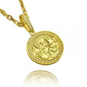 Pingente Santa Ceia Cravejado em Zircônia (3,2X2,8cm) (7,8g) (Banho Ouro 24k)